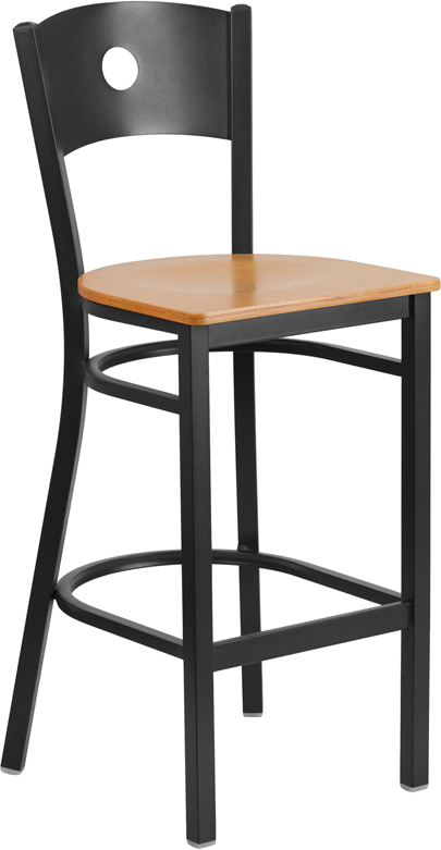 Wholesale HERCULES Series Black Circle Back Metal Restaurant Barstool - Natural Wood Seat
