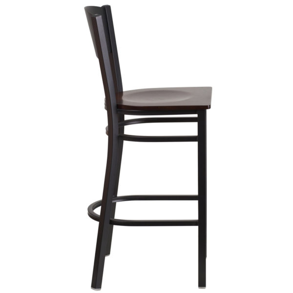 Lowest Price HERCULES Series Black Circle Back Metal Restaurant Barstool - Walnut Wood Seat