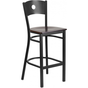 Wholesale HERCULES Series Black Circle Back Metal Restaurant Barstool - Walnut Wood Seat