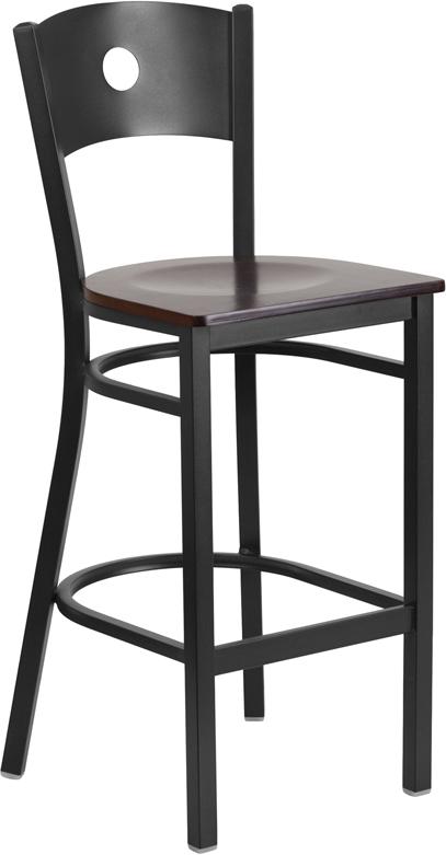 Wholesale HERCULES Series Black Circle Back Metal Restaurant Barstool - Walnut Wood Seat