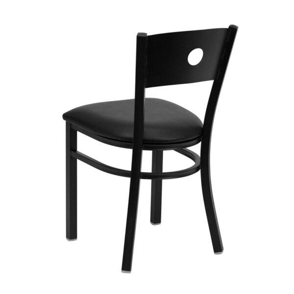Metal Dining Chair Black Circle Chair-Black Seat