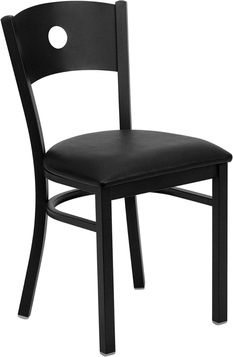 Wholesale HERCULES Series Black Circle Back Metal Restaurant Chair - Black Vinyl Seat