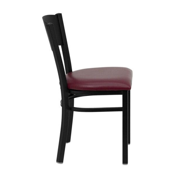 Lowest Price HERCULES Series Black Circle Back Metal Restaurant Chair - Burgundy Vinyl Seat