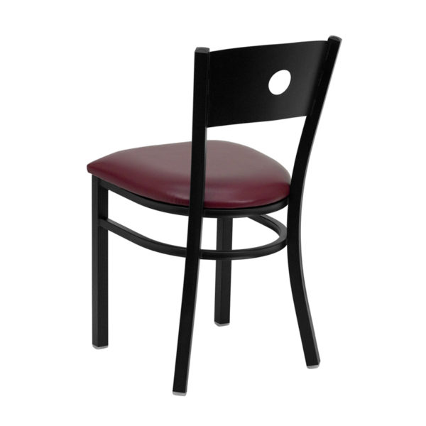 Metal Dining Chair Black Circle Chair-Burg Seat