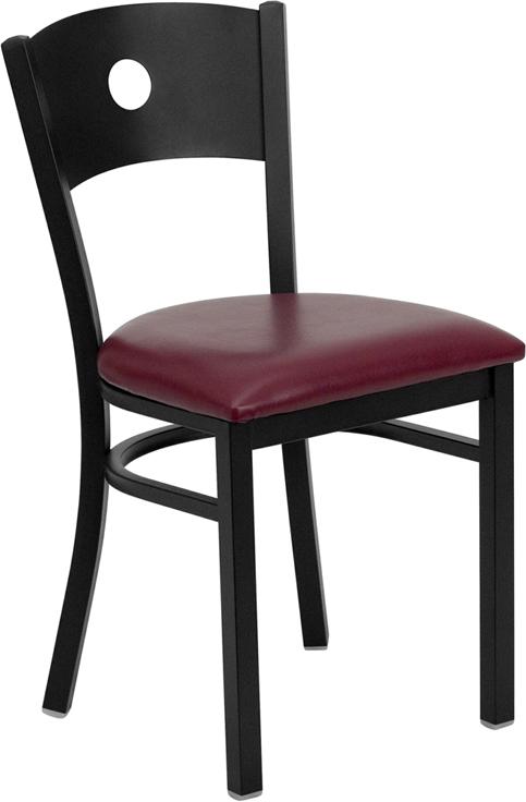 Wholesale HERCULES Series Black Circle Back Metal Restaurant Chair - Burgundy Vinyl Seat