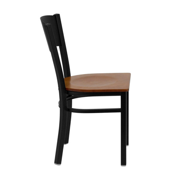 Lowest Price HERCULES Series Black Circle Back Metal Restaurant Chair - Cherry Wood Seat
