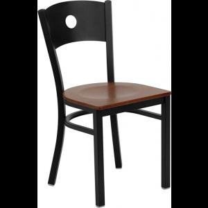 Wholesale HERCULES Series Black Circle Back Metal Restaurant Chair - Cherry Wood Seat