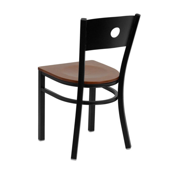 Metal Dining Chair Black Circle Chair-Cherry Seat