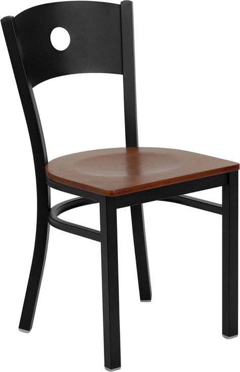 Wholesale HERCULES Series Black Circle Back Metal Restaurant Chair - Cherry Wood Seat