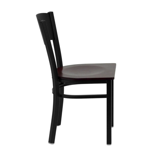 Lowest Price HERCULES Series Black Circle Back Metal Restaurant Chair - Mahogany Wood Seat