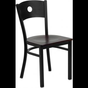 Wholesale HERCULES Series Black Circle Back Metal Restaurant Chair - Mahogany Wood Seat
