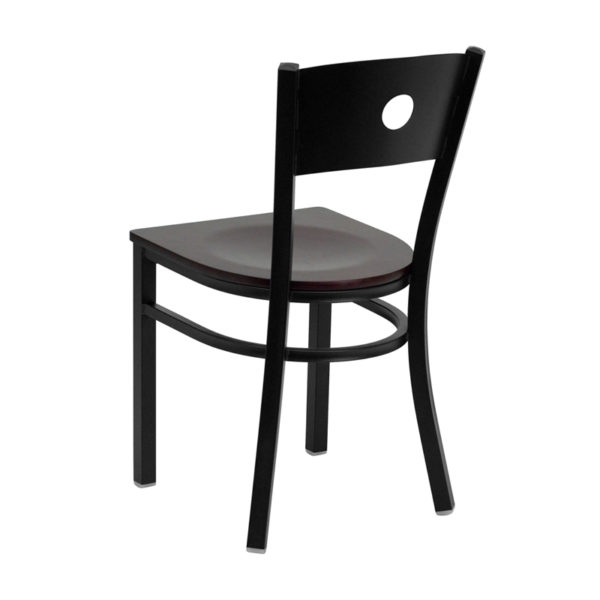 Metal Dining Chair Black Circle Chair-Mah Seat