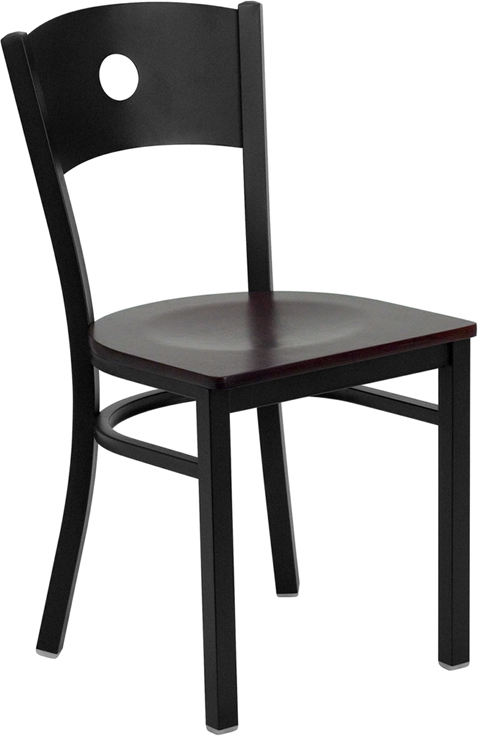 Wholesale HERCULES Series Black Circle Back Metal Restaurant Chair - Mahogany Wood Seat