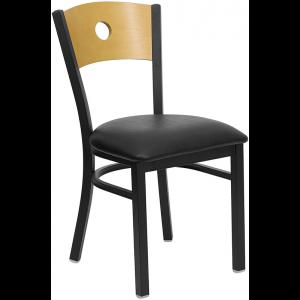 Wholesale HERCULES Series Black Circle Back Metal Restaurant Chair - Natural Wood Back