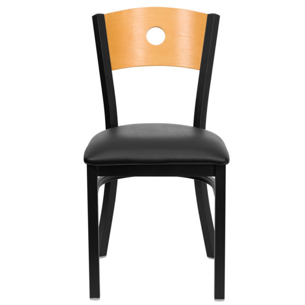 Metal Dining Chair Bk/Nat Circle Chair-Black Seat