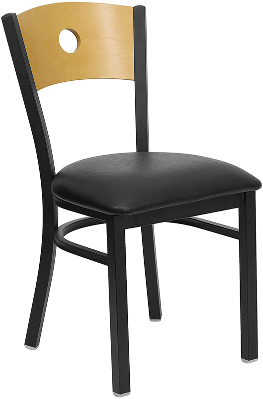 Wholesale HERCULES Series Black Circle Back Metal Restaurant Chair - Natural Wood Back