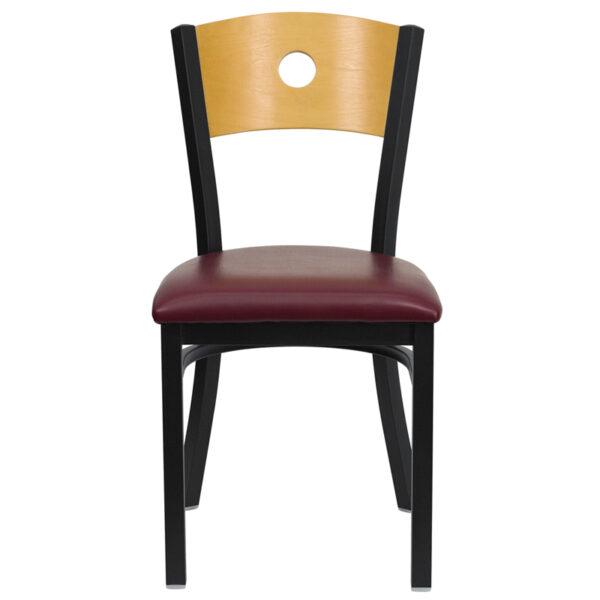 Metal Dining Chair Bk/Nat Circle Chair-Burg Seat