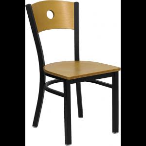 Wholesale HERCULES Series Black Circle Back Metal Restaurant Chair - Natural Wood Back & Seat