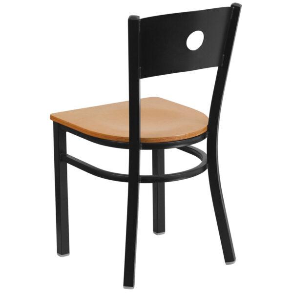 Metal Dining Chair Black Circle Chair-Nat Seat