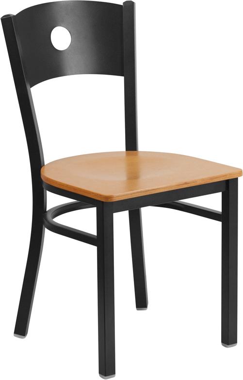 Wholesale HERCULES Series Black Circle Back Metal Restaurant Chair - Natural Wood Seat