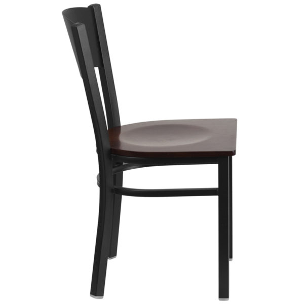 Lowest Price HERCULES Series Black Circle Back Metal Restaurant Chair - Walnut Wood Seat