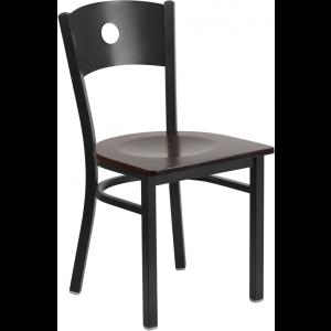 Wholesale HERCULES Series Black Circle Back Metal Restaurant Chair - Walnut Wood Seat