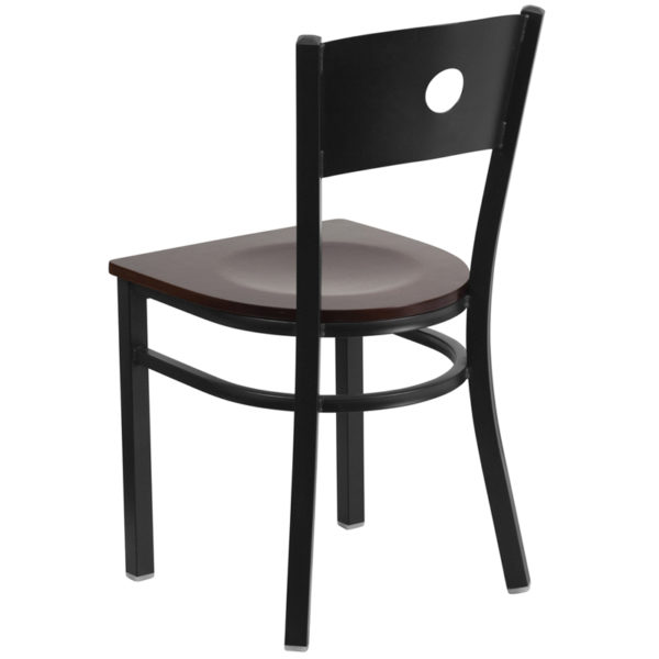 Metal Dining Chair Black Circle Chair-Wal Seat
