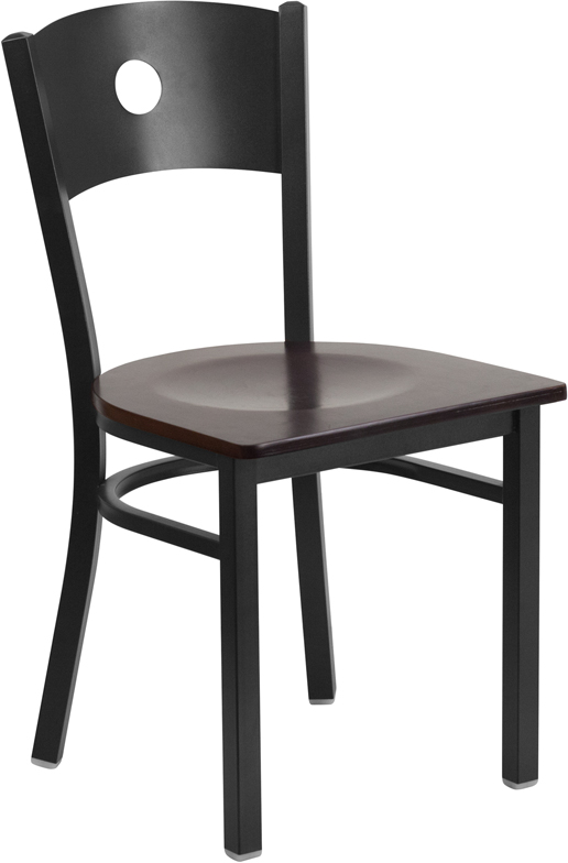 Wholesale HERCULES Series Black Circle Back Metal Restaurant Chair - Walnut Wood Seat