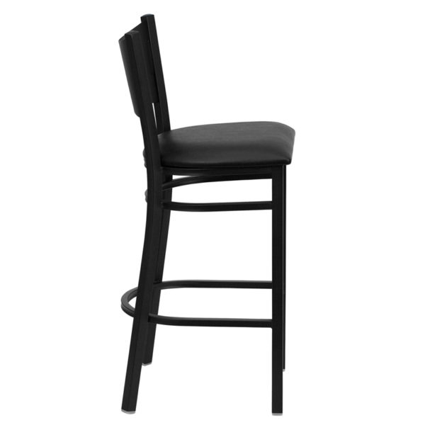 Lowest Price HERCULES Series Black Coffee Back Metal Restaurant Barstool - Black Vinyl Seat