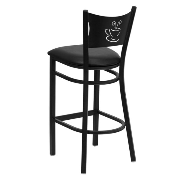Metal Dining Bar Stool Black Coffee Stool-Black Seat