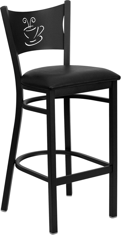 Wholesale HERCULES Series Black Coffee Back Metal Restaurant Barstool - Black Vinyl Seat