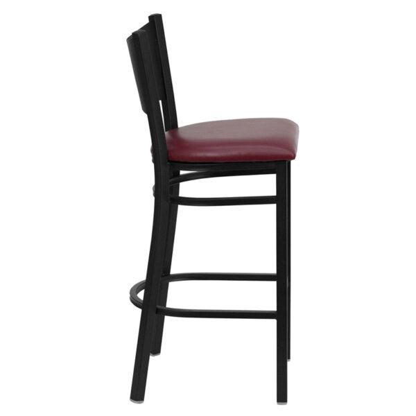 Lowest Price HERCULES Series Black Coffee Back Metal Restaurant Barstool - Burgundy Vinyl Seat