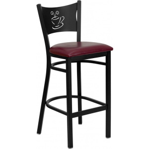 Wholesale HERCULES Series Black Coffee Back Metal Restaurant Barstool - Burgundy Vinyl Seat