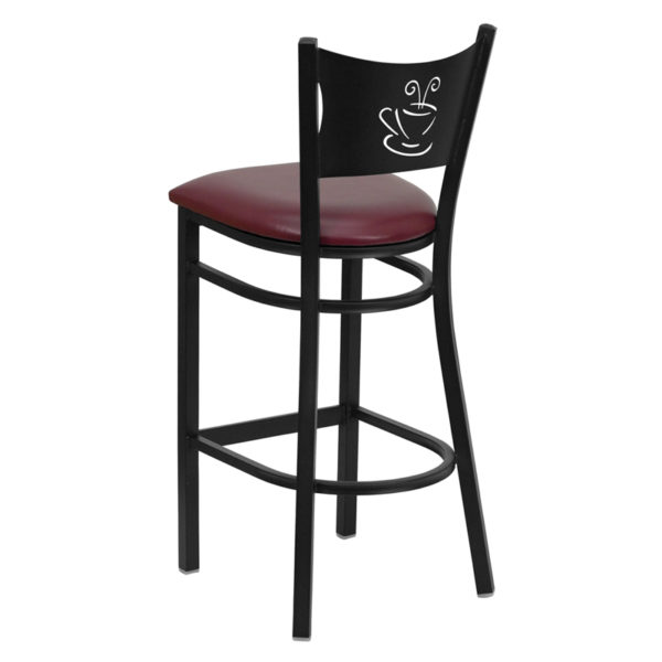 Metal Dining Bar Stool Black Coffee Stool-Burg Seat