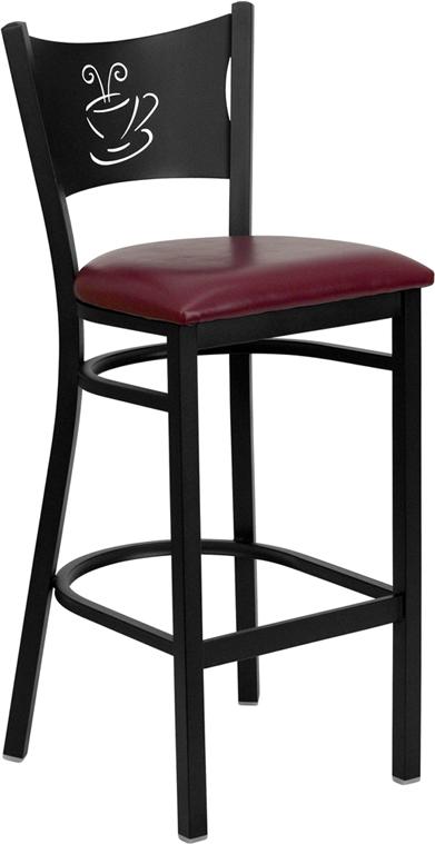 Wholesale HERCULES Series Black Coffee Back Metal Restaurant Barstool - Burgundy Vinyl Seat