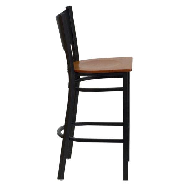 Lowest Price HERCULES Series Black Coffee Back Metal Restaurant Barstool - Cherry Wood Seat