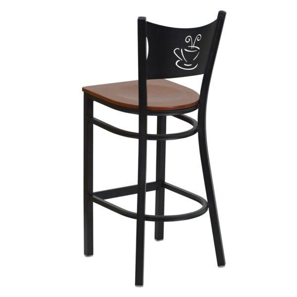 Metal Dining Bar Stool Black Coffee Stool-Cherry Seat