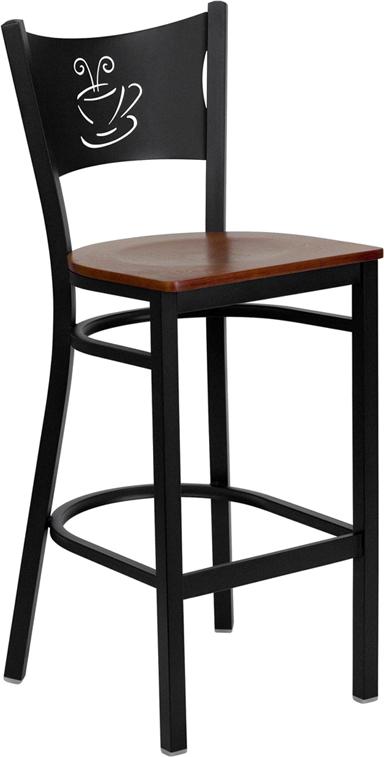 Wholesale HERCULES Series Black Coffee Back Metal Restaurant Barstool - Cherry Wood Seat