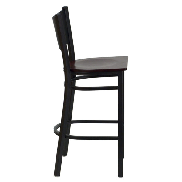 Lowest Price HERCULES Series Black Coffee Back Metal Restaurant Barstool - Mahogany Wood Seat