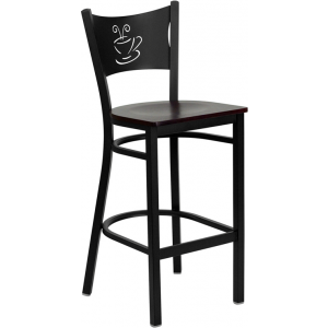 Wholesale HERCULES Series Black Coffee Back Metal Restaurant Barstool - Mahogany Wood Seat