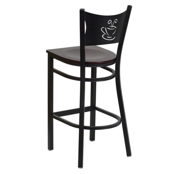 Metal Dining Bar Stool Black Coffee Stool-Mah Seat