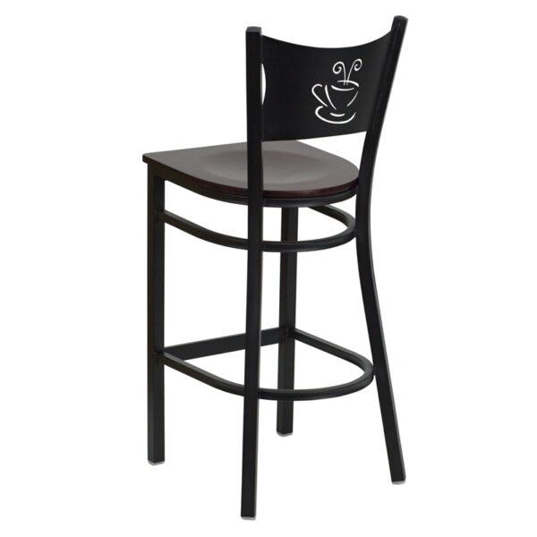 Metal Dining Bar Stool Black Coffee Stool-Mah Seat