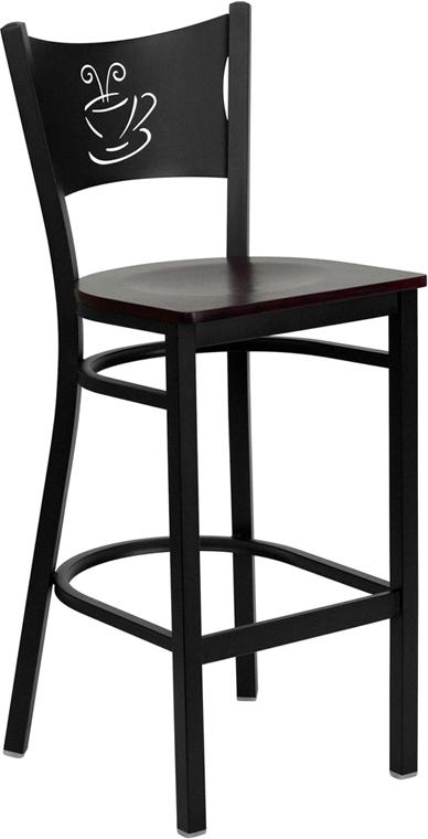 Wholesale HERCULES Series Black Coffee Back Metal Restaurant Barstool - Mahogany Wood Seat