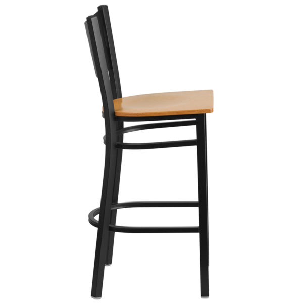 Lowest Price HERCULES Series Black Coffee Back Metal Restaurant Barstool - Natural Wood Seat