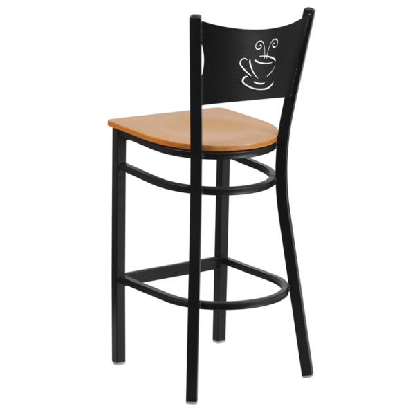 Metal Dining Bar Stool Black Coffee Stool-Nat Seat