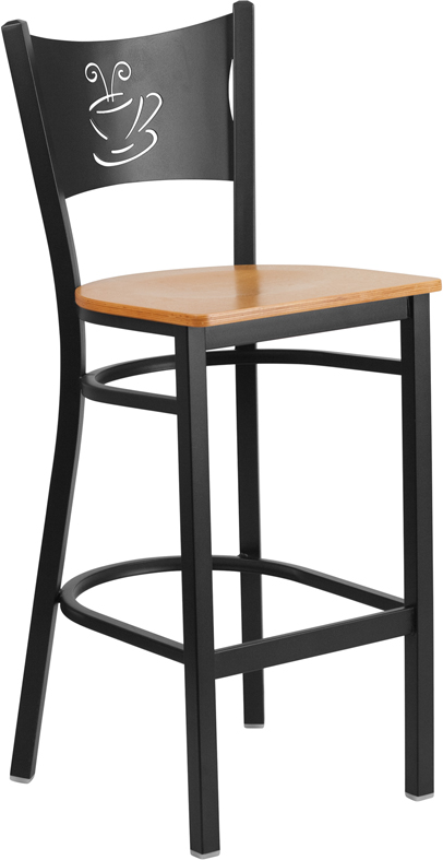 Wholesale HERCULES Series Black Coffee Back Metal Restaurant Barstool - Natural Wood Seat