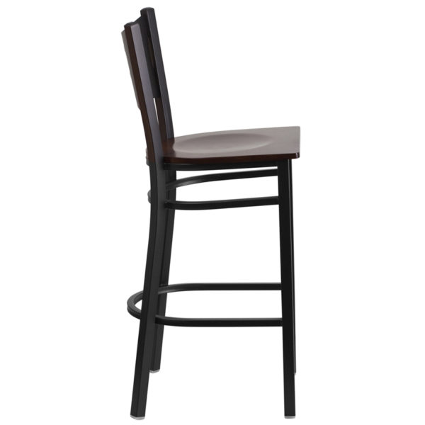 Lowest Price HERCULES Series Black Coffee Back Metal Restaurant Barstool - Walnut Wood Seat