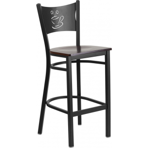 Wholesale HERCULES Series Black Coffee Back Metal Restaurant Barstool - Walnut Wood Seat