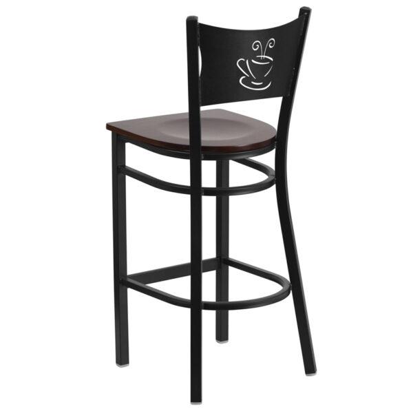 Metal Dining Bar Stool Black Coffee Stool-Wal Seat