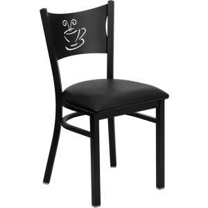 Wholesale HERCULES Series Black Coffee Back Metal Restaurant Chair - Black Vinyl Seat